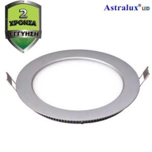 LED Πάνελ Χωνευτό Στρογγυλό Φωτιστικό Οροφής Ασημί 18W 6400K