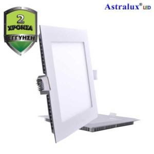LED Πάνελ Χωνευτό Τετράγωνο Φωτιστικό Οροφής 4000Κ Λευκό 18W