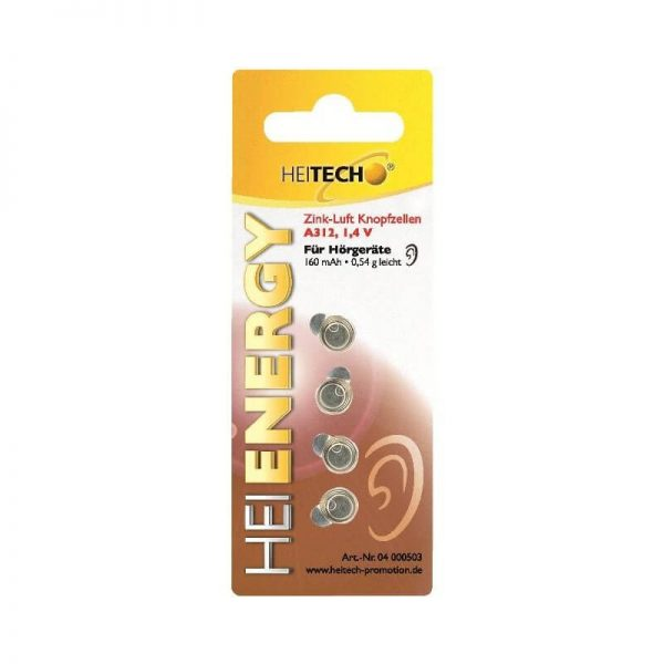 Heitech 04000503 Μπαταρίες για ακουστικά βαρηκοΐας Zink-Air A312 160 mAh 1.4 V
