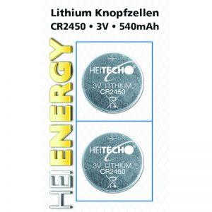 Heitech 04000509 Μπαταρίες λιθίου 2 τμχ CR 2450 350 mAh 3 V