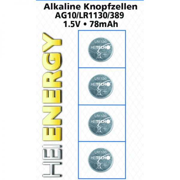 Heitech 04000535 Αλκαλικές μπαταρίες 4 τμχ AG10 / LR1130 / 389 1.5 V