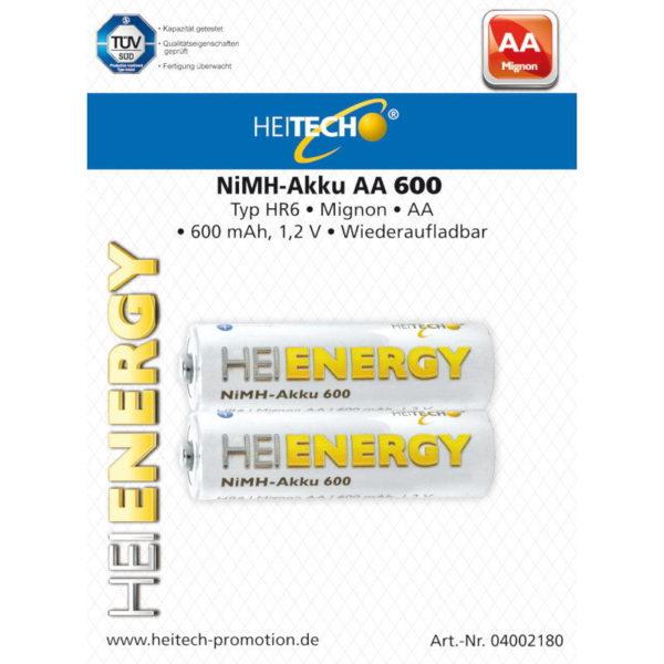 5519710-0033-Heitech 04002180 Επαναφορτιζόμενες μπαταρίες Ni-Mh 2 τμχ HR6 Mignon AA 600 mAh 1.2 V