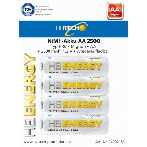 5519710-0035-Heitech 04002183 Επαναφορτιζόμενες μπαταρίες Ni-Mh 4 τμχ HR6 Mignon AA 2500 mAh 1.2 V