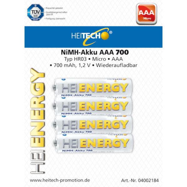 5519710-0023-Heitech 04002184 Επαναφορτιζόμενες μπαταρίες Ni-Mh 4 τμχ AAA 700 mAh 1.2 V