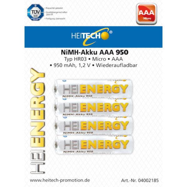 5519710-0024-Heitech 04002185 Επαναφορτιζόμενες μπαταρίες Ni-Mh 4 τμχ ΑΑΑ HR03 Micro 950 mAh 1.2 V
