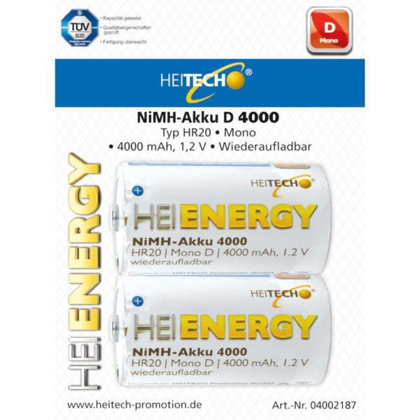 5519710-0037-Heitech 04002187 Επαναφορτιζόμενες μπαταρίες Ni-Mh 2 τμχ HR20 D 4000 mAh 1.2 V