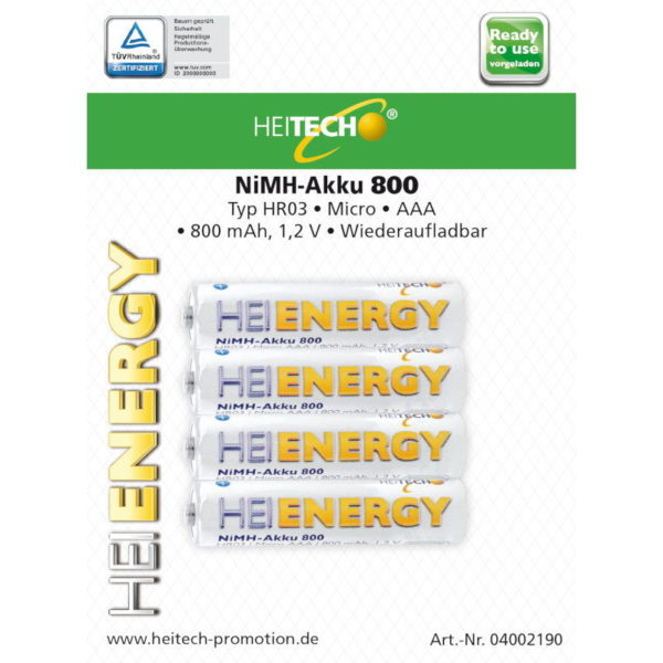 5519710-0039-Heitech 04002190 Επαναφορτιζόμενες μπαταρίες Ni-Mh 4 τμχ HR03 Micro AAA 800 mAh 1.2 V