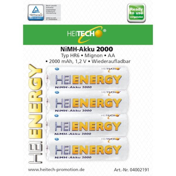 5519710-0040-Heitech 04002191 Επαναφορτιζόμενες μπαταρίες Ni-Mh 4 τμχ HR6 MIGNON AA 2000 mAh 1.2 V