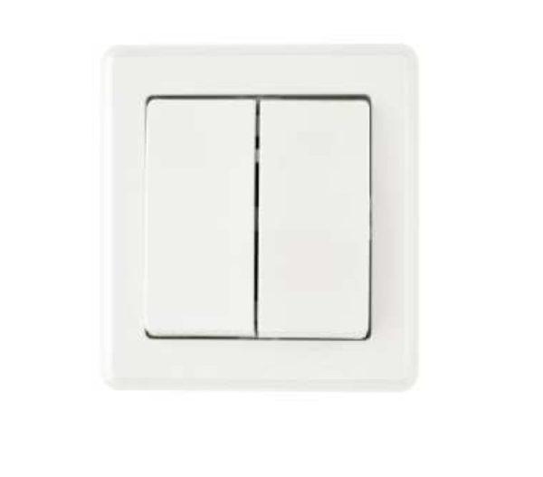 55197100-0090-Heitech 04002282 Διπλός διακόπτης τοίχου με πλαίσιο