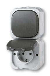 Στεγανός Διακόπτης A/R και Πρίζα Σούκο με Κάλυμμα Λευκός Aqua-Top