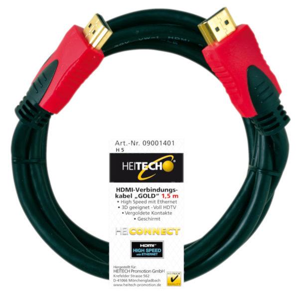55197100-0114-Heitech 09001401 Επιχρυσωμένο καλώδιο High Speed HDMI αρσενικό σε αρσενικό με ethernet 1.5 m