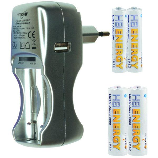 5519710-0043-Heitech 09001541 Φορτιστής μπαταριών και μπαταρίες AA 2000mAh AAA 800mAh