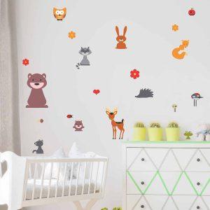 Ango 11211 - Forest Animals διακοσμητικά αυτοκόλλητα διπλής όψης για τζάμι ή τοίχο L