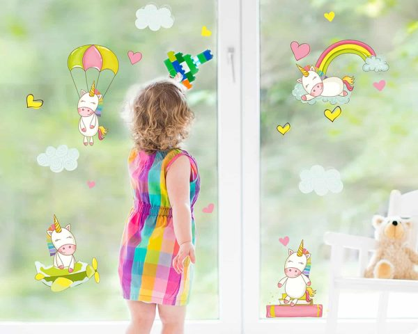 Ango 11212 - Baby Unicorns διακοσμητικά αυτοκόλλητα διπλής όψης για τζάμι ή τοίχο L