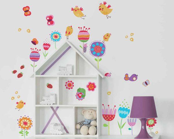 Ango 11214 - Birds and Flowers διακοσμητικά αυτοκόλλητα διπλής όψης για τζάμι ή τοίχο L