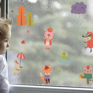 Ango 11215 - Autumn Animals διακοσμητικά αυτοκόλλητα διπλής όψης για τζάμι ή τοίχο L