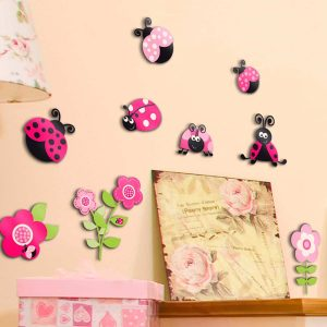 Ango 14506 - Pink Ladybugs αυτοκόλλητα 3 επιπέδων - Medium μέγεθος