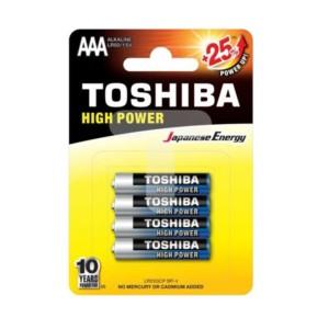 Αλκαλικές μπαταρίες Toshiba High Power 3Α Μίνι Μινιόν 4 τμχ. +25% Ενέργεια