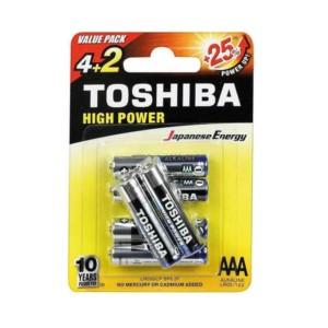 Αλκαλικές μπαταρίες Toshiba High Power 3Α Μίνι Μινιόν 6 τμχ. +25% Ενέργεια