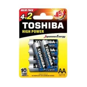 Αλκαλικές μπαταρίες Toshiba High Power 2Α Μικρές 6 τμχ. +45% Ενέργεια