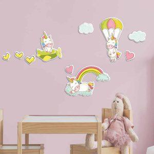 Ango 18009 - Fantasy Unicorns αφρώδη αυτοκόλλητα τοίχου