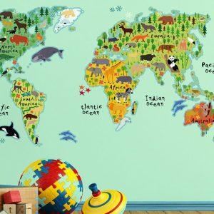 Ango 18301 - World Map διακοσμητικά αυτοκόλλητα τοίχου XL μέγεθος