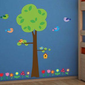 Ango 18303 - Tree With Flowers διακοσμητικά αυτοκόλλητα τοίχου XL μέγεθος