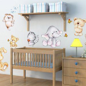 Ango 18304 - Cute Animals διακοσμητικά αυτοκόλλητα τοίχου XL μέγεθος
