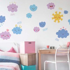 Ango 18309 - Happy Clouds διακοσμητικά αυτοκόλλητα τοίχου XL μέγεθος