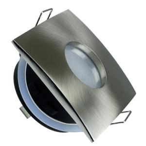 195-52416-Σποτ Χωνευτό V-Tac 3616 για GU10 και MR16 Tετράγωνο Satin Nickel IP 54 με Γυαλί Ματ