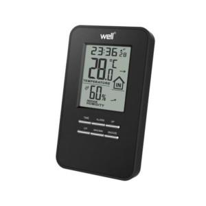 195-52460-Ψηφιακό Θερμόμετρο Υγρόμετρο μαύρο WELL Επιτραπέζιο ή Επίτοιχο