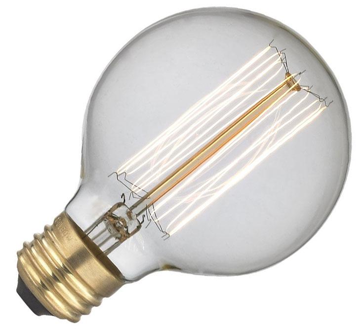 Λάμπσ Νήματος Edison E27 40W Globe Ø125mm Ροοστατούμενη Μπρονζέ