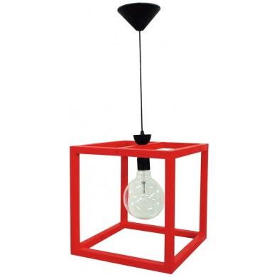 Φωτιστικό ΚΥΒΟΣ Wooden Cube FUN-15 1/Φ RED