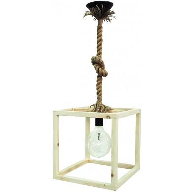 Φωτιστικό ΚΥΒΟΣ Με Σχοινί Wooden Cube FUN-15 1/Φ ROPE