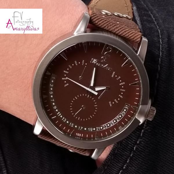 Ανδρικό ρολόι χειρός με καφέ λουρί και καφέ καντράν by Amaryllida's Art collection - 22656