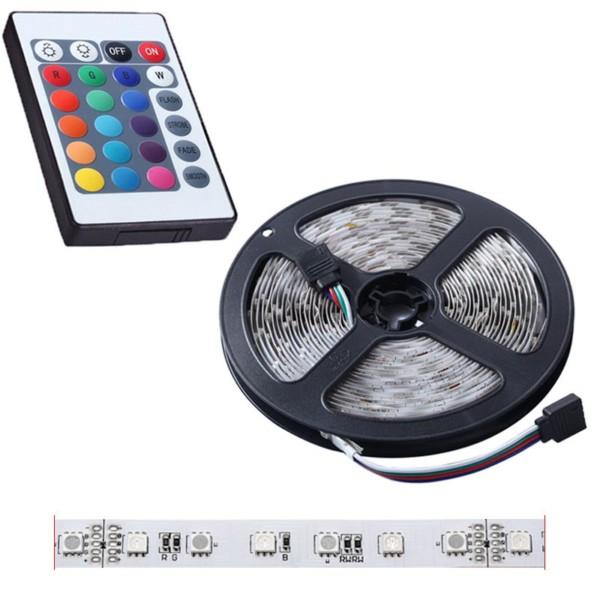 Αυτοκόλλητη ταινία LED RGB / 5050 SMD / 12V / 5m με χειριστήριο και τροφοδοτικό 12V/3A