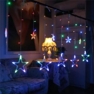 Κουρτίνα 3.3 μέτρα με αστέρια ασύμμετρα- Πολύχρωμος Φωτισμός