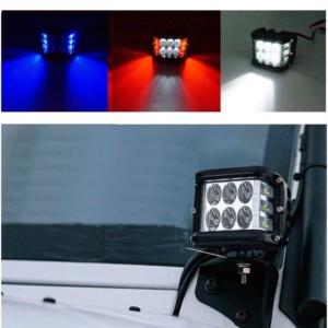 Αδιάβροχος προβολέας εργασίας 6 LED 36W με άσπρο/κόκκινο/μπλε φωτισμό
