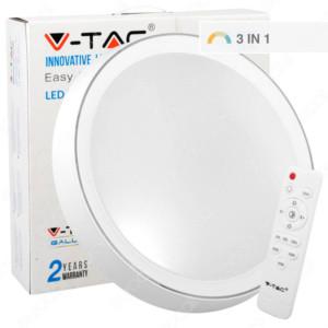 LED Designer Πλαφονιέρα 40W Στρογγυλή με εναλλαγή χρώματος και χειριστήριο  V-TAC 1476 3 σε 1