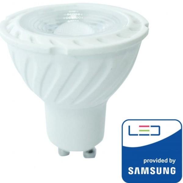 LED Dimmable Πλαστικό Spot GU10 SMD 6.5W 110° Samsung Chip Θερμό Λευκό-3000K V-Tac 198