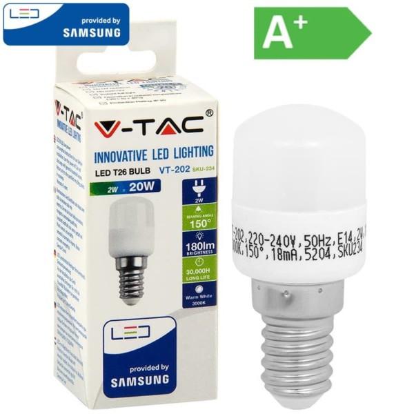 LED Νυκτός/Ψυγείου ST26 Samsung Chip 2W E14 Θερμό Λευκό-3000K V-Tac 234