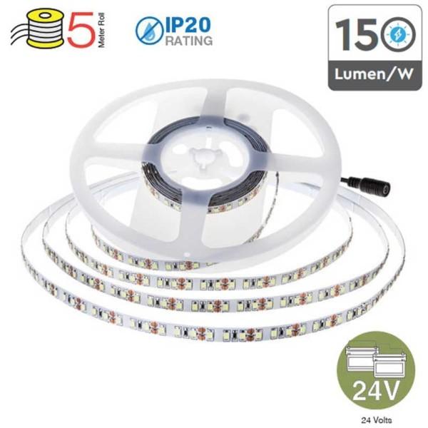 Ταινία LED 11W/m 2835 168 SMD/m 1650 lumens/m IP20 6000K Ψυχρό Λευκό VT-2835 Κωδικός 2598 το Ρολλό των 5m