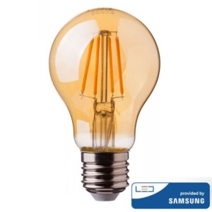 Λάμπα LED Amber Filament 6W A60 Samsung Chip 2200K-Θερμό Λευκό V-TAC 286
