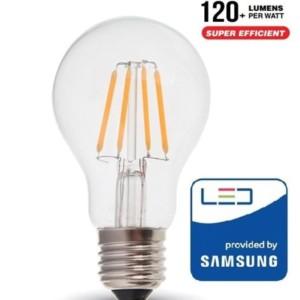 Λάμπα LED Διάφανη Filament 6W A60 Samsung Chip 2200K-Θερμό Λευκό V-TAC 287