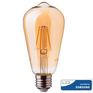 Λάμπα LED Amber Filament 6W AVOCADO ST64 Samsung Chip 2200K-Θερμό Λευκό V-TAC 290