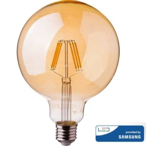 Λάμπα LED Amber Filament 6W G125 Samsung Chip 2200K-Θερμό Λευκό V-TAC 291