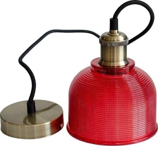 Κρεμαστό Φωτιστικό 1Φ Κόκκινο Γυαλί V-TAC 3731
