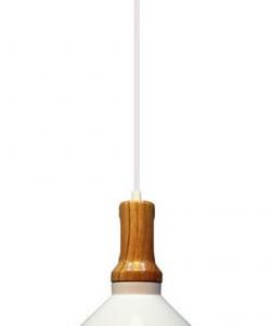 Κρεμαστό Φωτιστικό Σιδερένιο Λευκό (+Ξύλο) V-TAC 3763