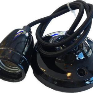 Ανάρτηση Πορσελάνης-Μαύρο Κρεμαστό Φωτιστικό 1Φ V-TAC 3804