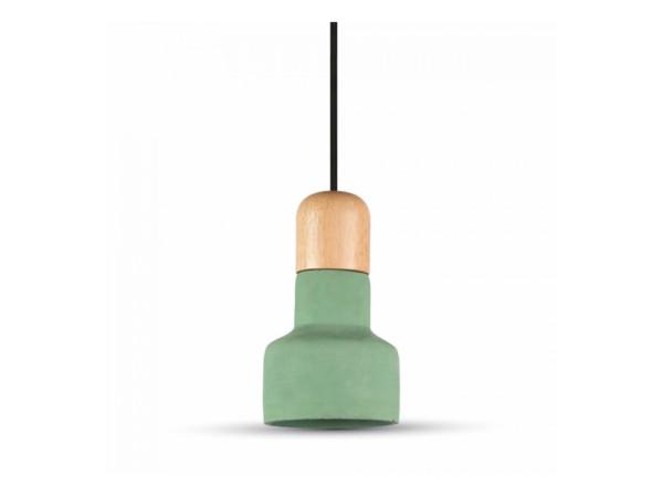 Κρεμαστό Φωτιστικό 1Φ Τσιμεντένιο (+ Ξύλο) Πράσινο V-TAC 3856